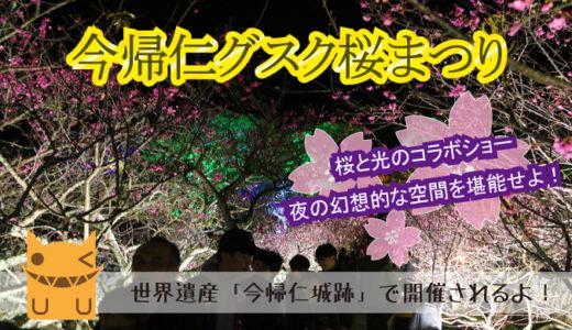 「今帰仁グスク桜祭り」のライトアップ夜桜を紹介します!
